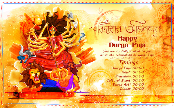 India durga puja festival vector material 01