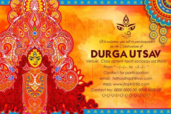 India durga puja festival vector material 03