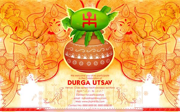 India durga puja festival vector material 04