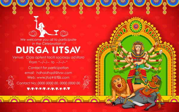 India durga puja festival vector material 05