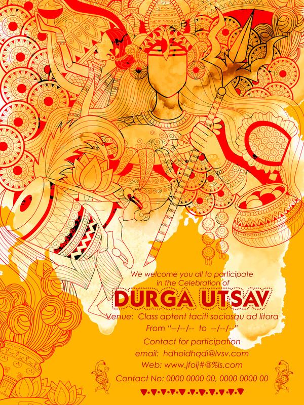 India durga puja festival vector material 06