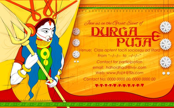 India durga puja festival vector material 07