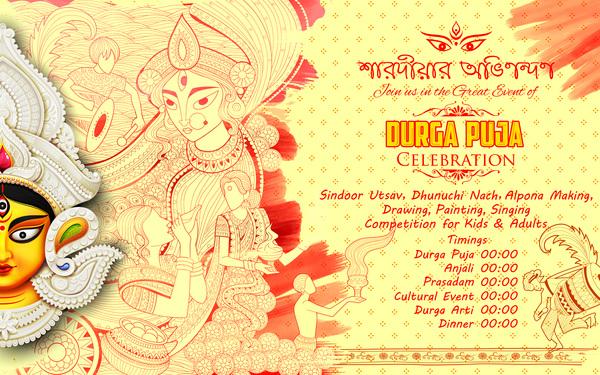 India durga puja festival vector material 09