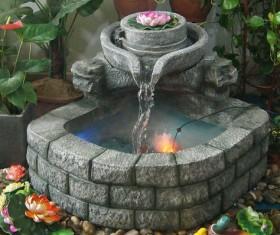 Indoor European rockery fountain Stock Photo