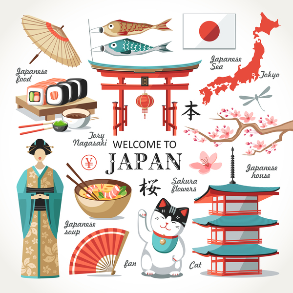 Japanese travel sights with traditions cultural vector 01