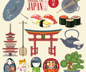 Japanese travel sights with traditions cultural vector 03