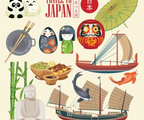Japanese travel sights with traditions cultural vector 05