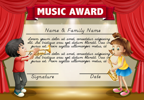 Kids music award template vector