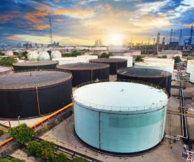 Large oil storage tank Stock Photo