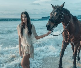 Lead a horse woman HD picture
