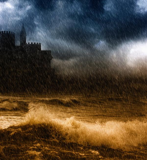 Lightning rainstorms Stock Photo