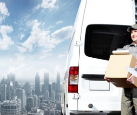 Logistics courier Stock Photo
