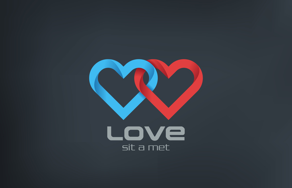 Love heart logo design vector