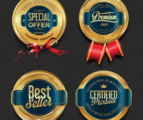 Luxury golden badges design vectors