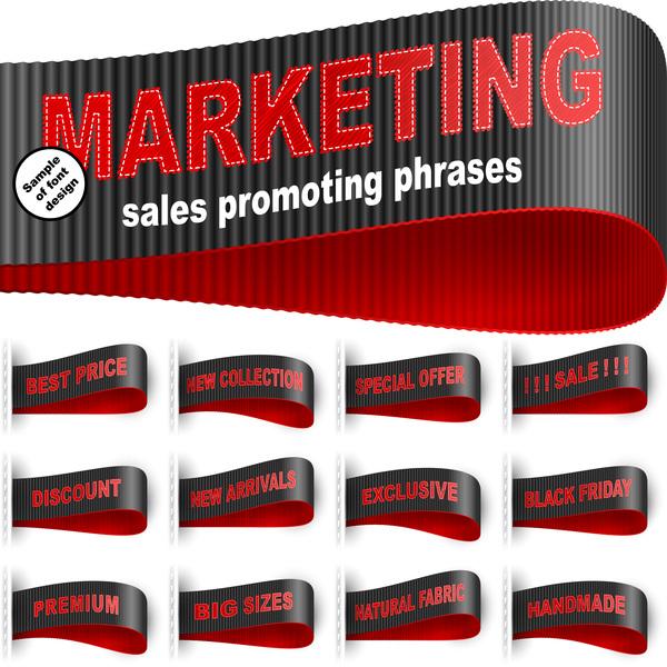 Marketing Tag Label Clothes Sticker Sewn Phrase Vector Set 01