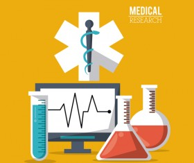 Medical research vector template illustration 03