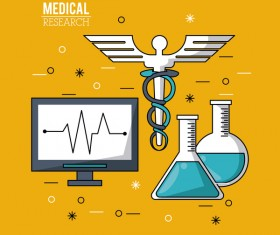 Medical research vector template illustration 04