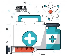 Medical research vector template illustration 06