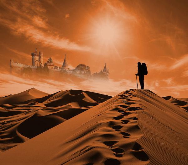 Met the mirage in the desert Stock Photo