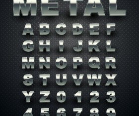 Metal alphabet with numbers shiny vector