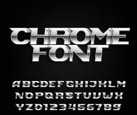 Metal chrome alphabet with numbers vector