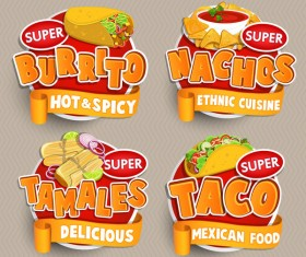Mexican food labels sticker vector