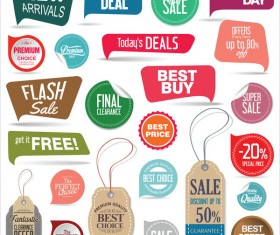 Modern badges with tags and sticher colorful vector