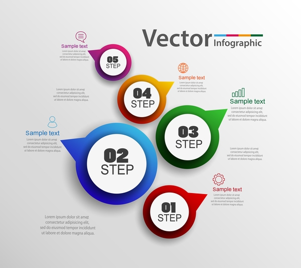 Modern circles infographic vector template 03