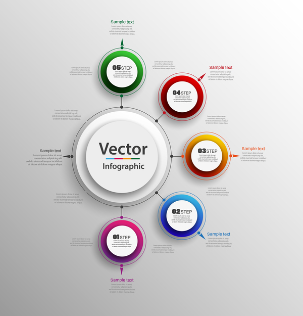 Modern circles infographic vector template 06