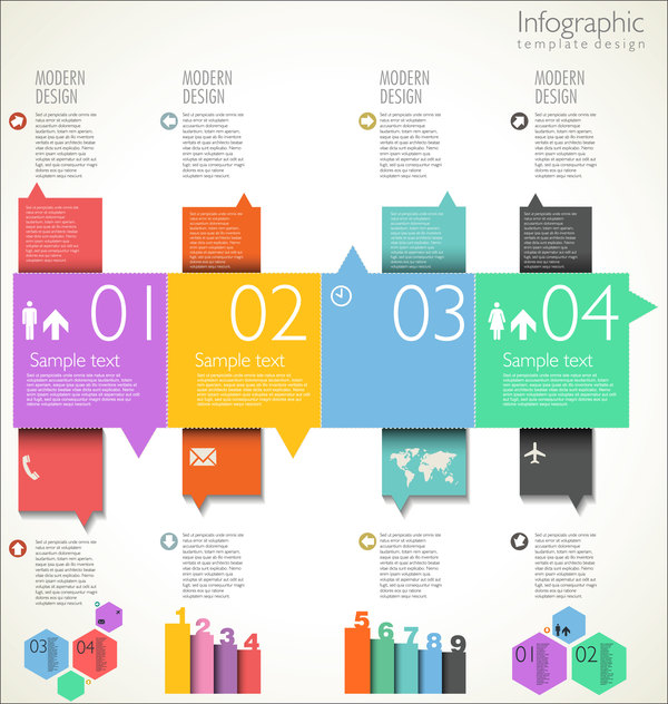 Modern infographic template design vector