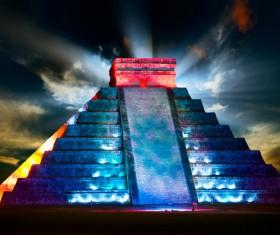 Modern lighting technology decorated Mayan pyramid Stock Photo