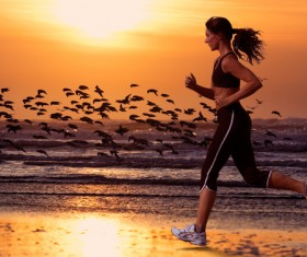 Morning exercise woman Stock Photo
