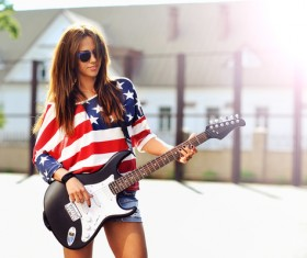 Musical instrument guitar girl HD picture