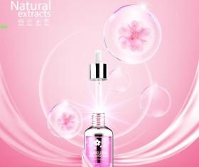 Natural extracts sakura cosmetic advertising poster vector 01