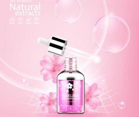Natural extracts sakura cosmetic advertising poster vector 02
