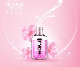Natural extracts sakura cosmetic advertising poster vector 03