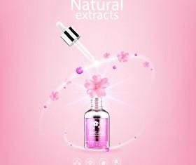 Natural extracts sakura cosmetic advertising poster vector 04