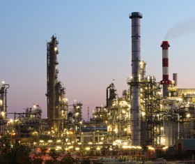 Night refinery Stock Photo