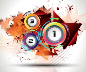 Number button with modern background vector