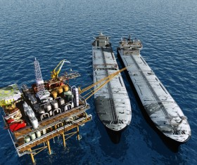 Offshore oil platform and tanker Stock Photo