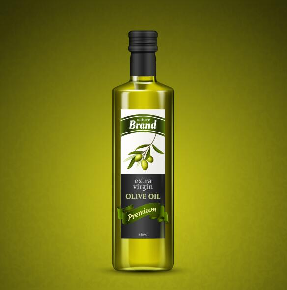 Olive oil bottle with green background vector