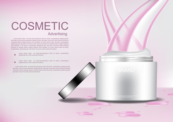 Opened cosmetic cream with pink abstract lines and template vector