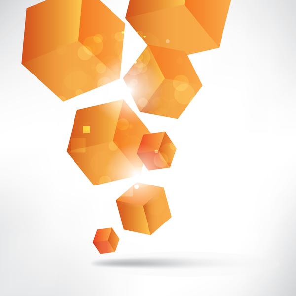 Orange cube background illustration vector
