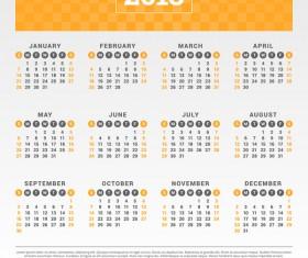 Orange flat 2018 calendar company vectors