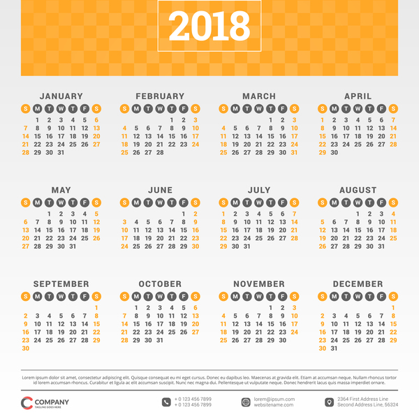 Orange flat 2018 calendar company vectors