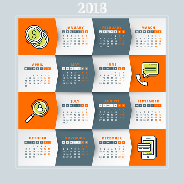 Orange with gray 2018 calendar template vectors 01
