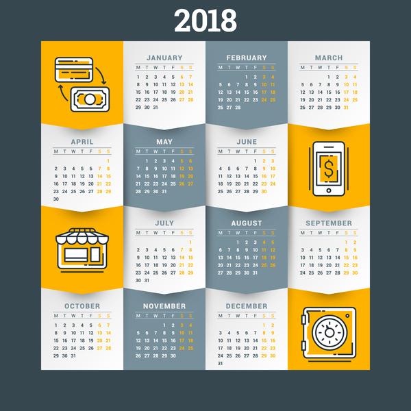 Orange with gray 2018 calendar template vectors 02
