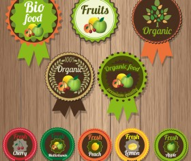 Organic fruits badge retro vector