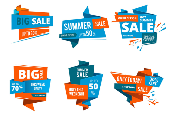 Origami big sale labels vector