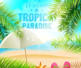 Palm leaves with summer beach background vector 01